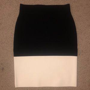 bcbgmaxazria B&W color-block bandage skirt